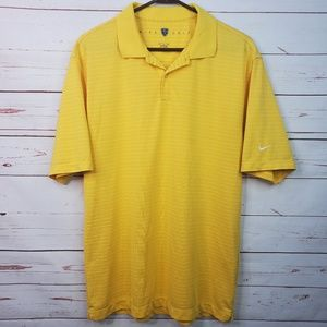 Nike Golf Dri Fit Yellow Striped Polo Shirt Medium